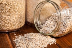 46694549 - glass jars with rice, quinoa and oats